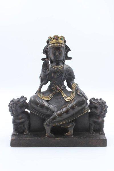 Guanyin Buddha Figur mit Fu Dogs - Bronze