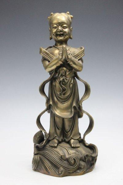 Tong Zi Kind Statue aus Bronze
