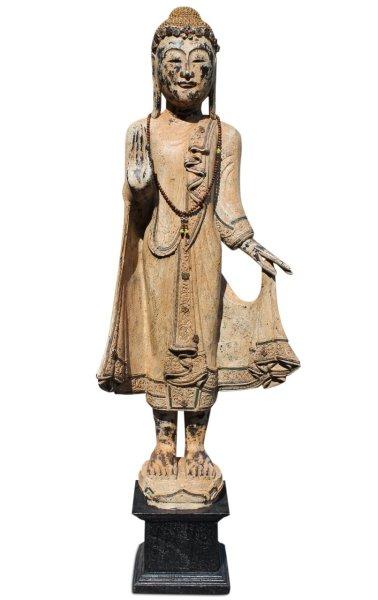 Holz Buddha Figur 119 cm groß