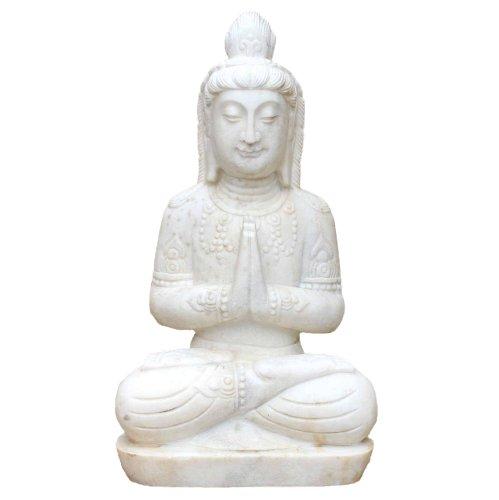 Namaskar Mudra Buddha (63cm) Garten Marmorstein Statue