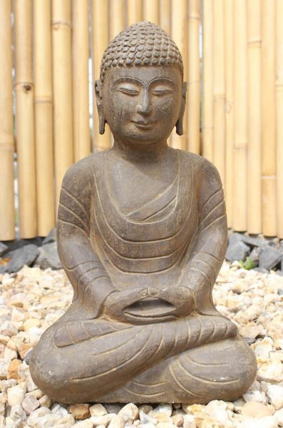 Garten Buddha Statue aus Naturstein - 45 cm groß