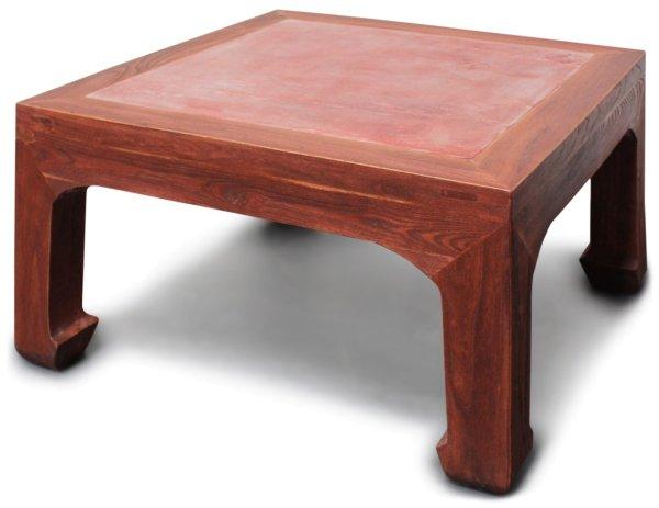 Asiatischer Wohnzimmertisch aus Holz, rot-braun