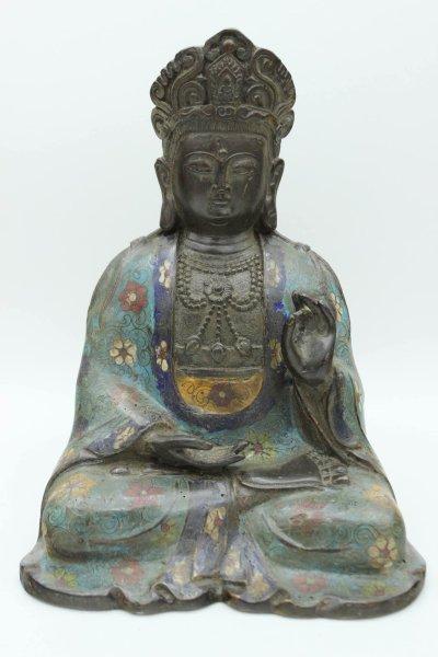 Cloisonne Buddha Figur - Bronze, Karana Mudra