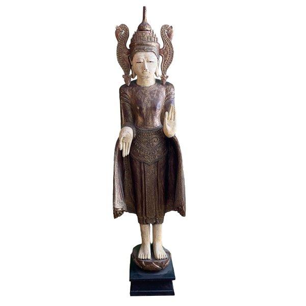 Große Burma Buddha Figur Holz (187cm) mit lehrender Geste
