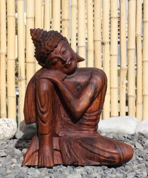 Ruhende Buddha Figur aus Holz 30cm groß
