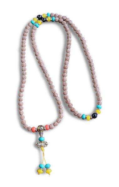 Buddhistische Halskette Mala, Rudraksha Samen