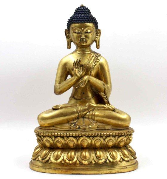 Dharmachakra Buddha Figur aus Bronze - feuervergoldet