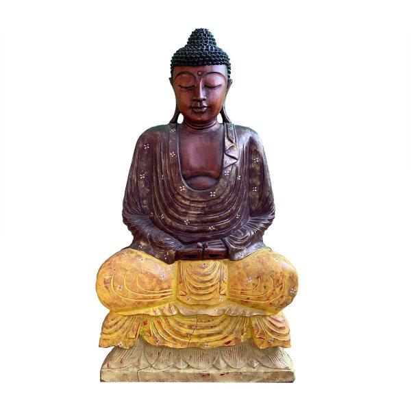85cm großer Holz Buddha mit Blumen Bemalung - Meditation