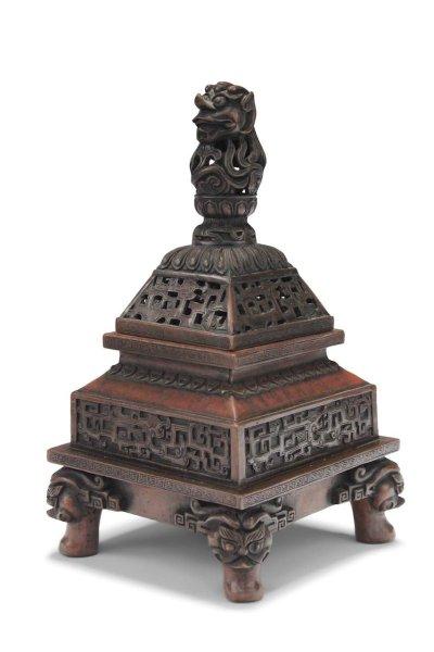 Drachen Räuchergefäß aus Bronze