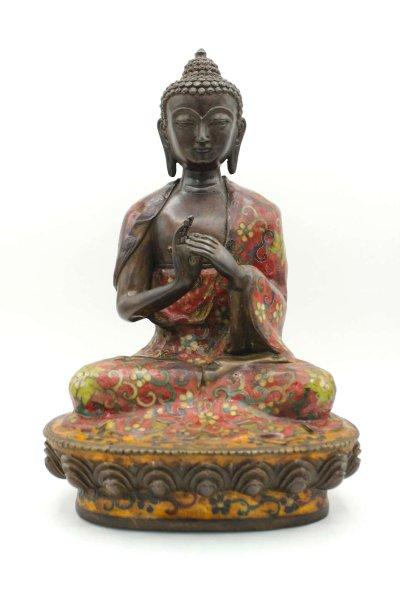 Dharmachakra Buddha Figur aus Bronze - Cloisonne - 28cm groß