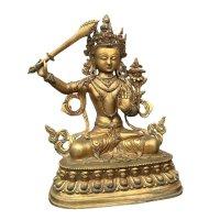 Manjushri Buddha Figur aus Nepal - vergoldet
