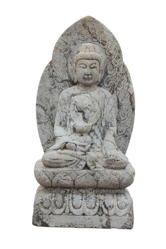 garten buddha figur aus marmorstein f r den asiengarten liebhaber. Black Bedroom Furniture Sets. Home Design Ideas