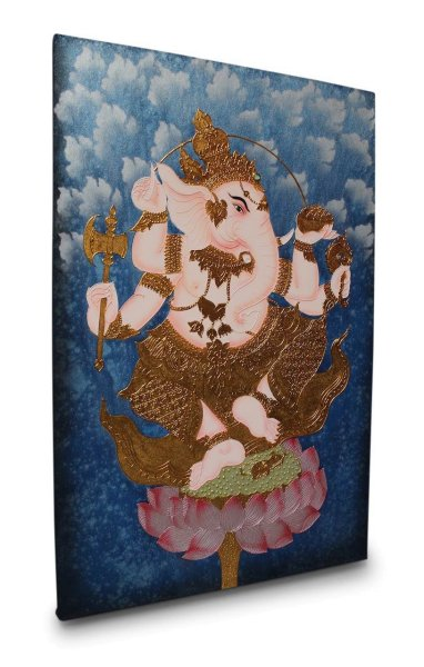 Gemälde mit blattvergoldeten Ganesha