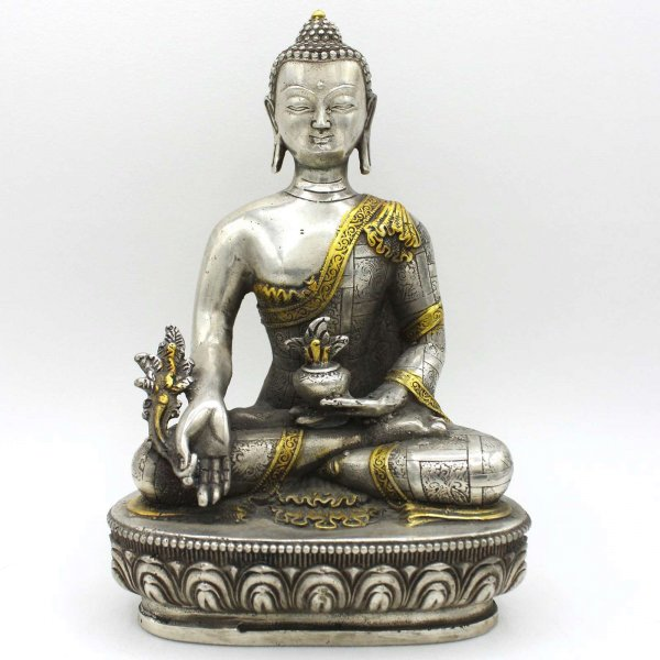 Medizin Buddha Figur (20,5cm) Tibet Silber
