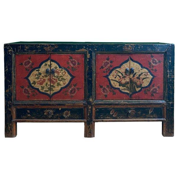 Asia Kommode Möbel - chinesisches Sideboard - mit Blumenmalerei