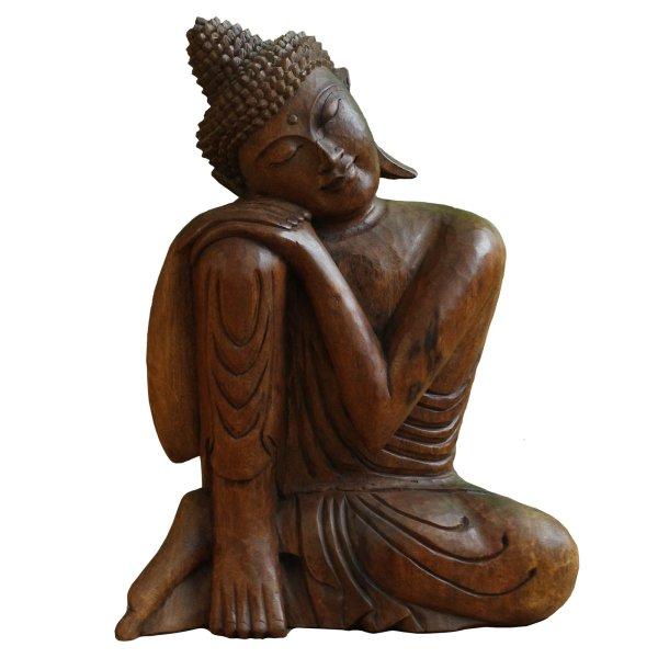 Ruhende Siddharta Buddha Statue (52cm) Holz Shakyamuni Figur