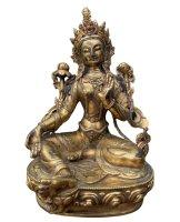 Grüne Tara Buddha Figur aus Bronze - 24 K feuervergoldet