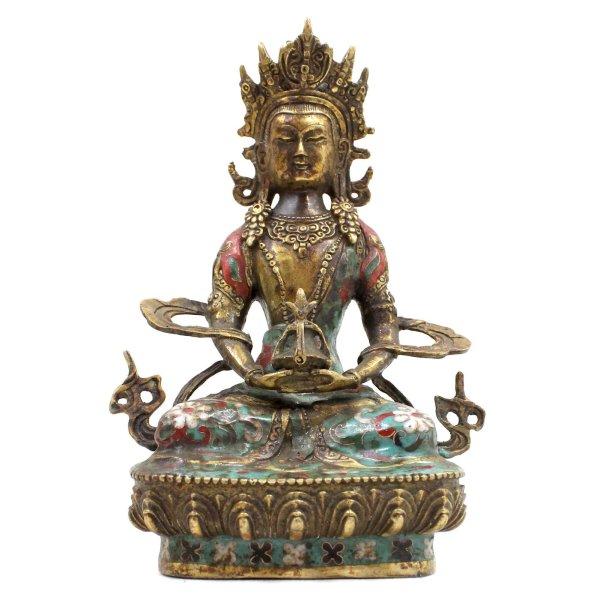 Cloisonné Amitayus Buddha (20cm) Bronze Figur China