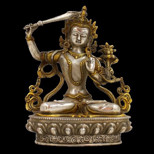 Manjushri Buddha Figur Tibet Silber (21cm) Bronze Statue