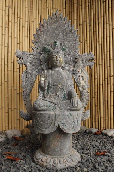 Garten Buddha Figur mit Aureole & Drachen flankiert