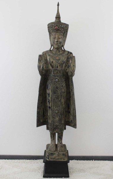 Mandalay Buddha Statue aus Holz, 196cm