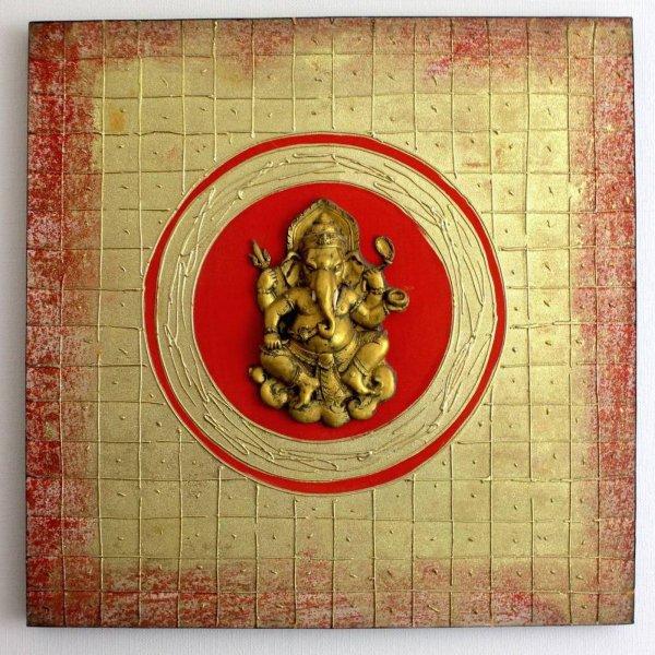 Thailändisches Wandbild mit Ganesha 80 x 80cm