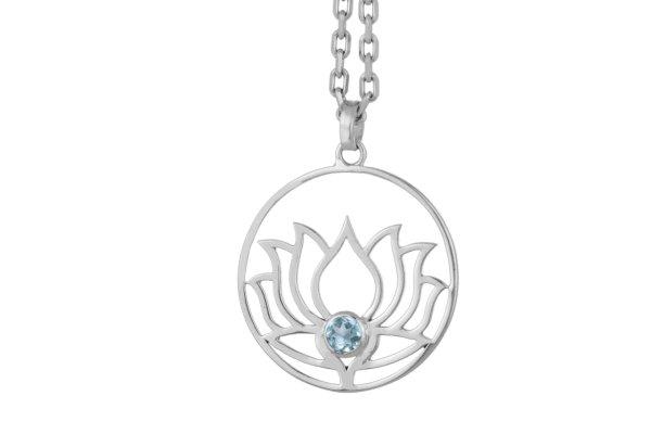 Lotusblume Silber Anhänger mit Blautopas, 925er Silber