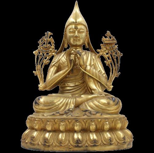 Tsongkhapa (31cm) Mönch Figur Bronze Gold Lack