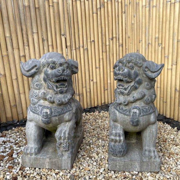 Chinesische Tempellöwen aus Naturstein - 90cm groß