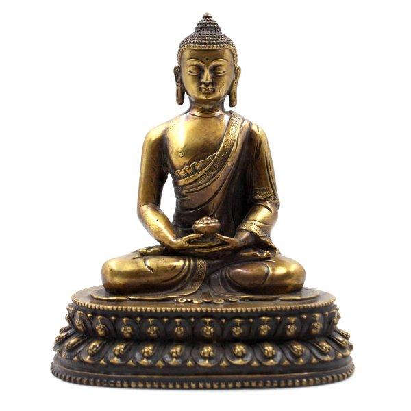 Sitzender Amitabha Buddha (21cm) Meditations Figur Bronze