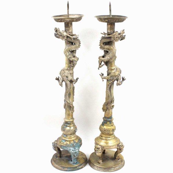 Chinesischer Drachen Kerzenständer (61cm) Bronze Figur