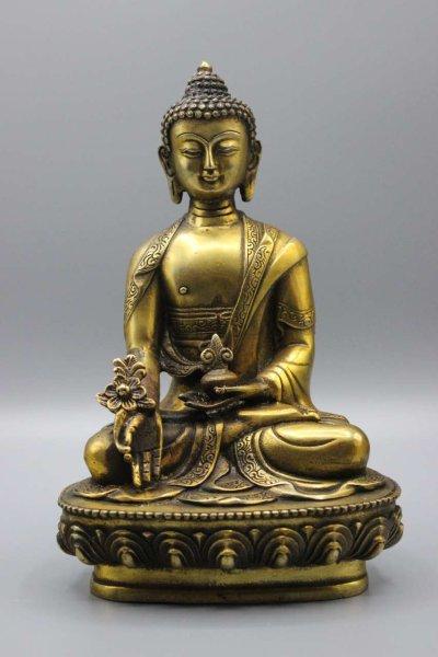 Bhaisajyaguru Medizin Buddha Figur, Bronze