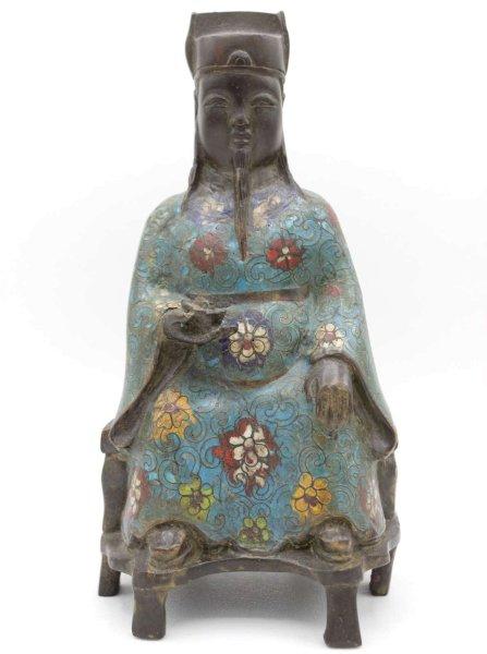 Chinesischer Kaiser (23,5cm) Cloisonné Bronze Figur