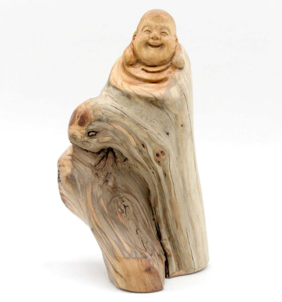 Geschnitzter Happy Buddha (15cm) Hotai Figur
