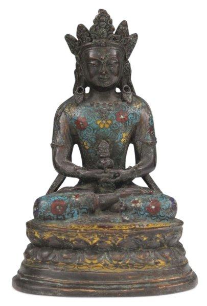 Cloisonne Amitayus Buddha Figur aus Bronze