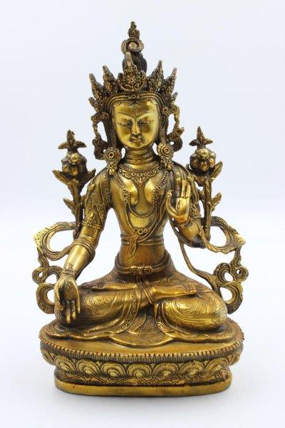 Weiße Tara Buddha Figur aus Bronze