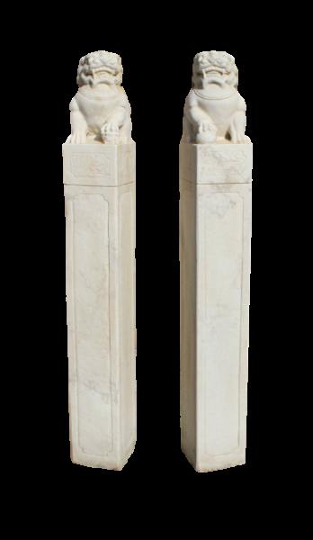 Asiatische Wächterlöwen - Tempelwächter aus Marmor Stein