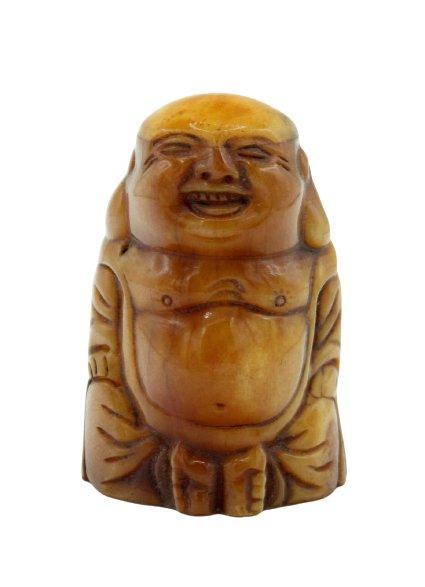 Kleine Happy Buddha Figur aus Yak Knochen