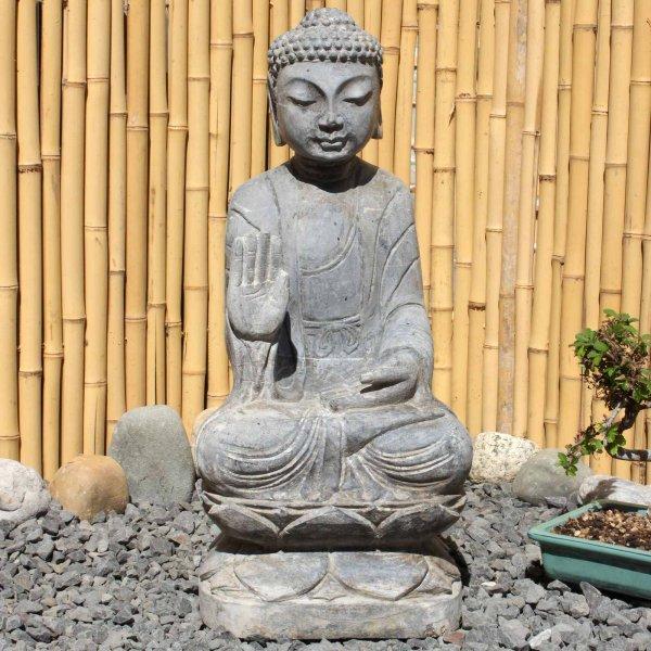 Amoghasiddhi Buddha (54cm) Naturstein Garten Statue