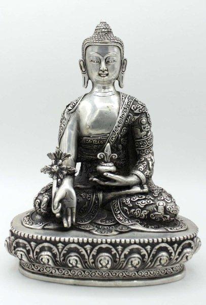 Medizin Buddha Figur (22,5cm) Bhaisajyaguru Tibet Silber