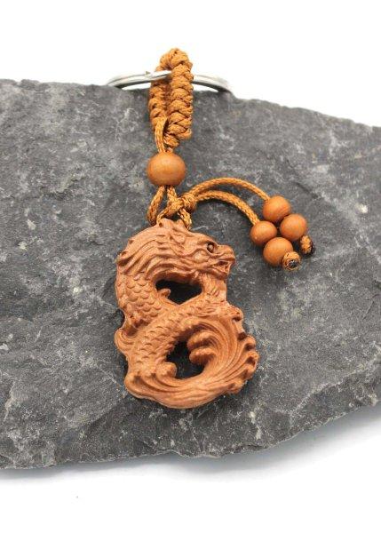 Chinesischer Drachen Schlüsselanhänger - Rosenholz