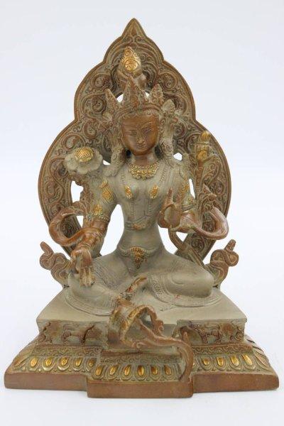 Grüne Tara Buddha Figur aus Bronze, Nepal