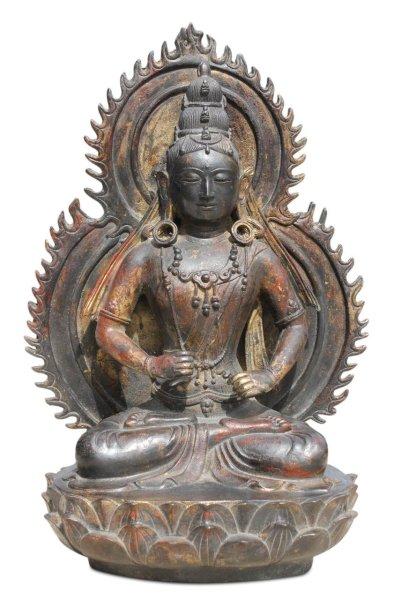 Sitzender Bronze Buddha mit Aureole