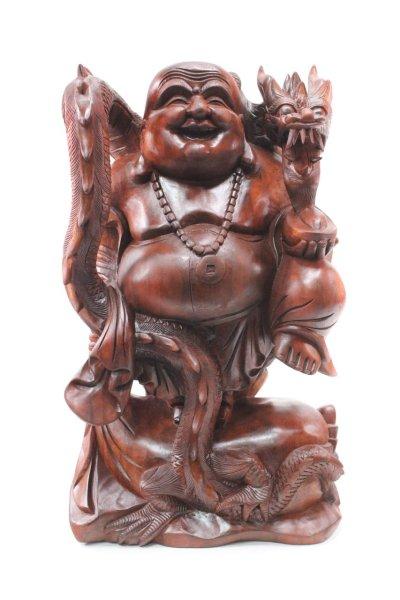 Glücks-Buddha Hotai Figur mit Drachen, aus Holz