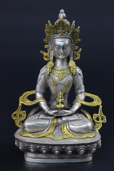 Buddha Figur Amitayus, aus Bronze