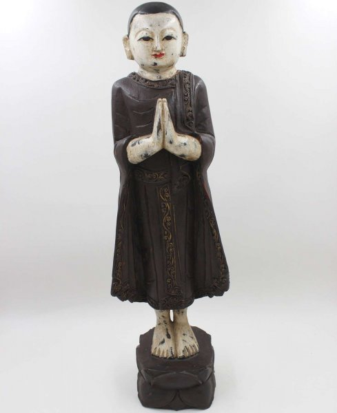 Namaskar Mudra Mönch Figur (59cm) Teak Holz