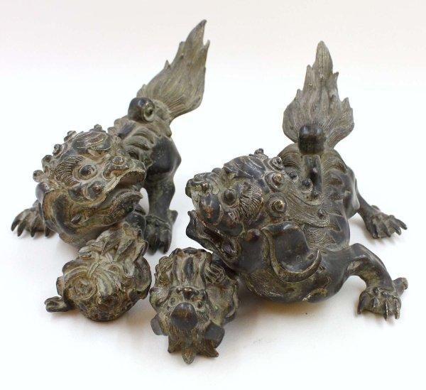 Chinesische Wächterlöwen aus Bronze