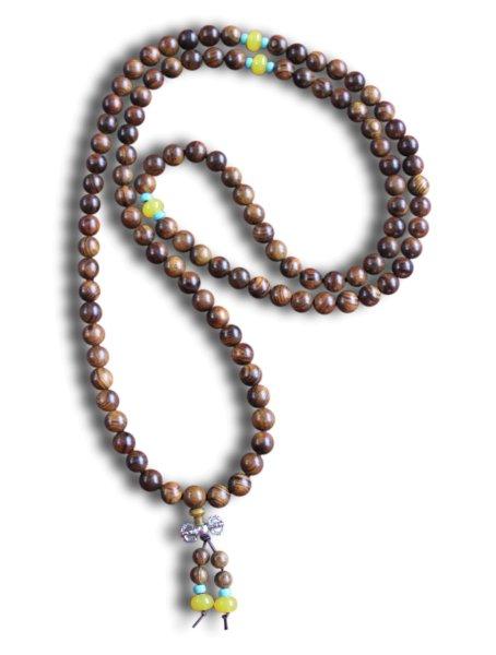 Buddhistische Halskette Mala, Rosenholz, mit Dorje