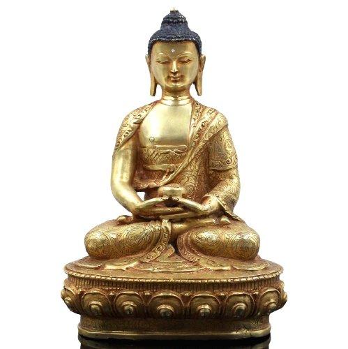 Amitabha Buddha Bronze Figur (21,5cm) 24 K Feuervergoldet