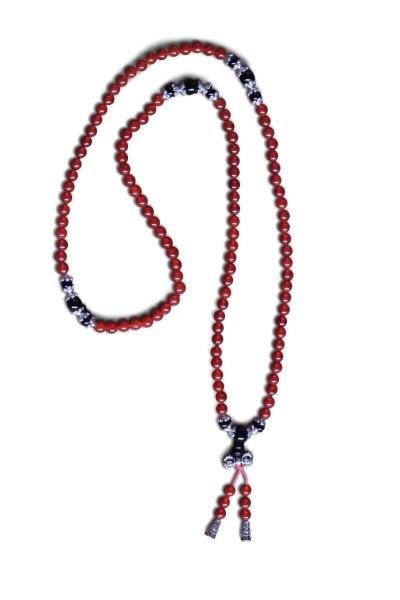 Buddhistische Halskette Mala, roter Achat mit Dorje